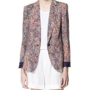Zara Paisley Scarf Blazer Size S